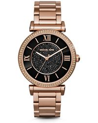 Michael Kors Catlin Pavé-Embellished Onyx and Rose Gold-Tone Watch - Lyst
