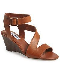 Steve Madden 'Stipend' Wedge Leather Sandal - Lyst