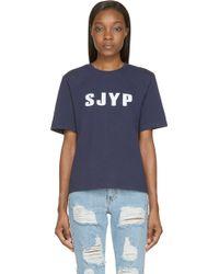 Sjyp Navy Oversized Logo T_Shirt - Lyst