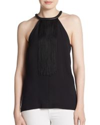 Yigal Azrouël Fringe Leather-Accented Silk Blouse blue - Lyst