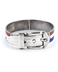 Gucci Pre-owned Sterling Silver Red White and Blue Enamel Bracelet - Lyst