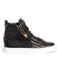 Giuseppe Zanotti | London Croc-Embossed Leather High-Top Sneakers | Lyst