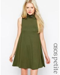 Asos Sleeveless Swing Dress With Turtleneck - Lyst