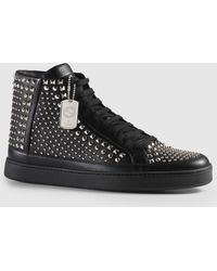 Gucci - Leather High-top With Feline - Lyst