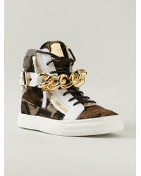 Giuseppe Zanotti Chain Detail Hi-Top Sneakers - Lyst