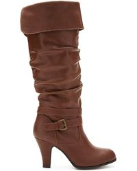 Forever 21 Heeled Knee-High Boots - Lyst
