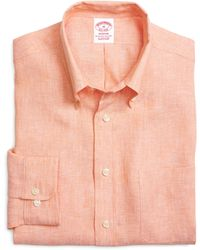 Brooks Brothers Madison Fit Linen Sport Shirt - Lyst
