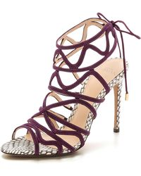 Alexandre Birman Suede Caged Sandals - Violet/Mono Natural - Lyst