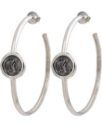 1884 Collection - Legacy Vivace Large Silver Coin Hoop Earrings - Lyst