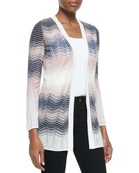 M Missoni Colorblocked Ripple-Knit Cardigan - Lyst