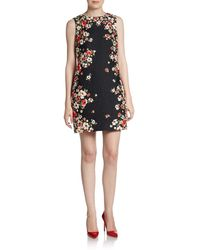 Dolce & Gabbana Sleeveless Floral Border Jacquard Shift Dress - Lyst