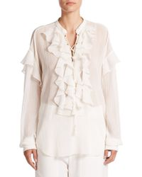 Chloé | Lace-up Ruffle Top | Lyst