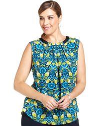 Jones New York Collection Plus Size Sleeveless Floralprint Top - Lyst