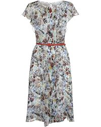 Carolina Herrera Floral Print Chiffon Dress - Lyst