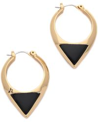 Sam Edelman - Enamel Inlay Hoop Earrings - Gold/black - Lyst