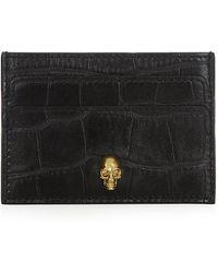 Alexander McQueen Skull Croc Card Holder - Lyst