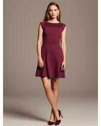 Banana Republic Pintuck Ponte Fit and Flare Dress  - Lyst