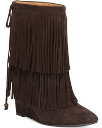 Denim & Supply Ralph Lauren Denim  Supply Donata Fringe Wedge Booties - Lyst
