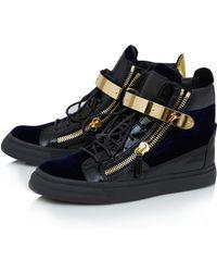 Giuseppe Zanotti Black Velvet High Top Leather Trainers - Lyst