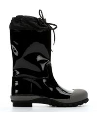 Miu Miu Black Patent Leather and Marble Rubber Mid-calf Rain Boots - Lyst