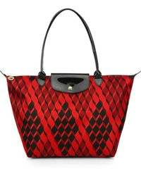 Longchamp Le Pliage Nylon Leather Losange Tote - Lyst