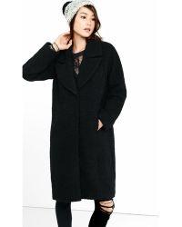 Express | Black Boucle Wide Lapel Coat | Lyst