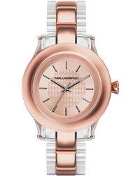 Karl Lagerfeld Karl Chain Rose Goldtone Watch pink - Lyst