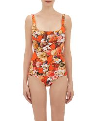 Givenchy Flower & Butterfly-Print Maillot-Red Size 36