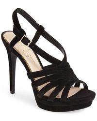 Jessica Simpson 'Peace' Suede Peep Toe Platform Sandal - Lyst