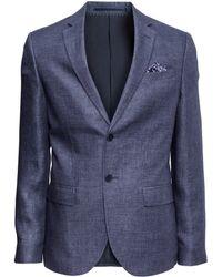 H&M Linen Jacket blue - Lyst