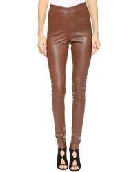 By Malene Birger Elenaso Leather Leggings  Rust - Lyst