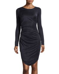 Halston Longsleeve Fishtail Cupro Dress - Lyst