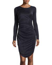 Halston Heritage Long-Sleeve Fishtail Cupro Dress - Lyst