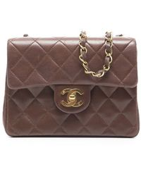 Chanel Preowned Brown Mini Flap Bag - Lyst