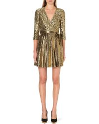 Diane Von Furstenberg Metallic Lace Wrap Dress - Lyst