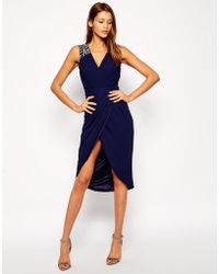 Tfnc Midi Dress with Embellished Shoulders and Wrap Skirt - Lyst