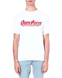 Obey Posse Cotton Tshirt White - Lyst