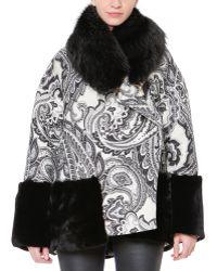 Just Cavalli Paisley Jacquard Rabbit Fur-trim Jacket - Lyst