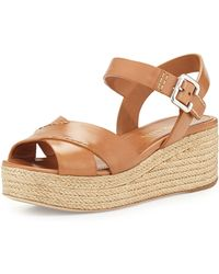 Prada Leather Crisscross Platform Sandal - Lyst