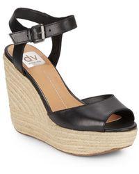 DV by Dolce Vita Nadiyah Leather & Jute Platform Wedge Sandals - Lyst