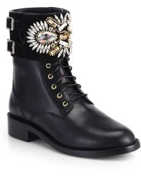 Rene Caovilla | Swarovski Crystal, Suede & Leather Biker Boots | Lyst