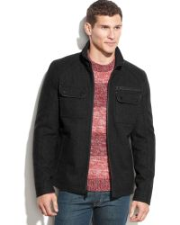 Guess Wool-Blend Faux-Leather-Trim Bomber Jacket - Lyst