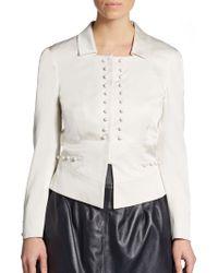 Valentino Silk Spread Collar Jacket - Lyst