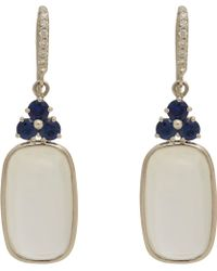 Sidney Garber - Moonstone Cabochon, Sapphire & White Gold Drop Earrings - Lyst