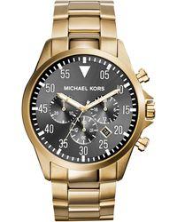 Michael Kors Mens Chronograph Gage Goldtone Stainless Steel Bracelet Watch 45mm - Lyst