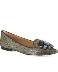 Tory Burch Mayada Bejeweled Slippers Pewter - Lyst