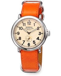 Shinola Runwell Stainless Steel Leather Nato Strap Watch - Lyst