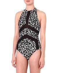Suboo Animalprint Halterneck Swimsuit Leopard - Lyst