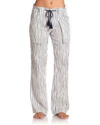 Tory Burch Striped Linen Drawstring Beach Pants - Lyst
