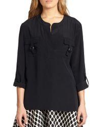 Diane Von Furstenberg Roll-sleeve Silk Top - Lyst
